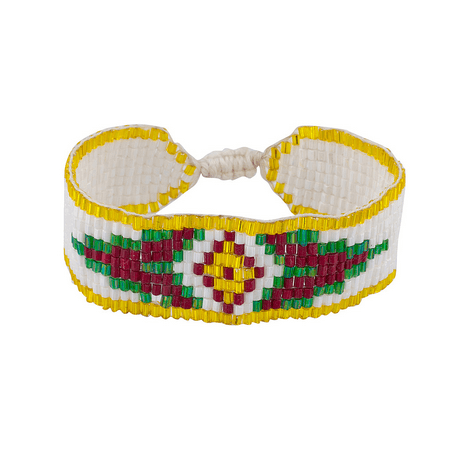 Lux Accessories White Multi Color Small Tribal Patterned Seed Bead Bracelet