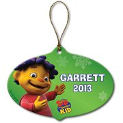 Personalized Sid the Science Kid Snowflakes and Stripes Christmas Ornament