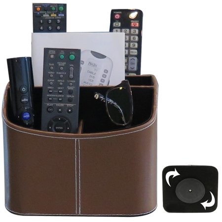 Evelots Rotating Remote Control Organizer, Holds 4 Remotes, Faux Leather ()