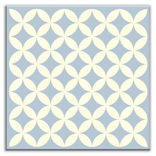 Oscar & Izzy Folksy Love 4-1/4'' x 4-1/4'' Glossy Decorative Tile in Needle Point Blue Gray