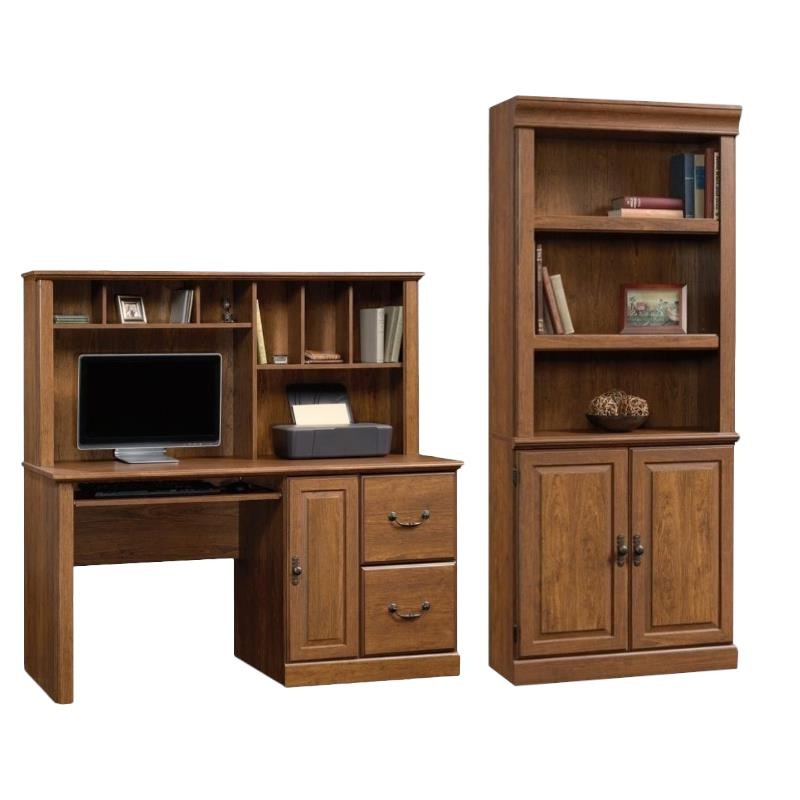 Orchard Hills 2 Piece Computer Desk with Hutch and 3 Shelf Bookcase Set in Cherry