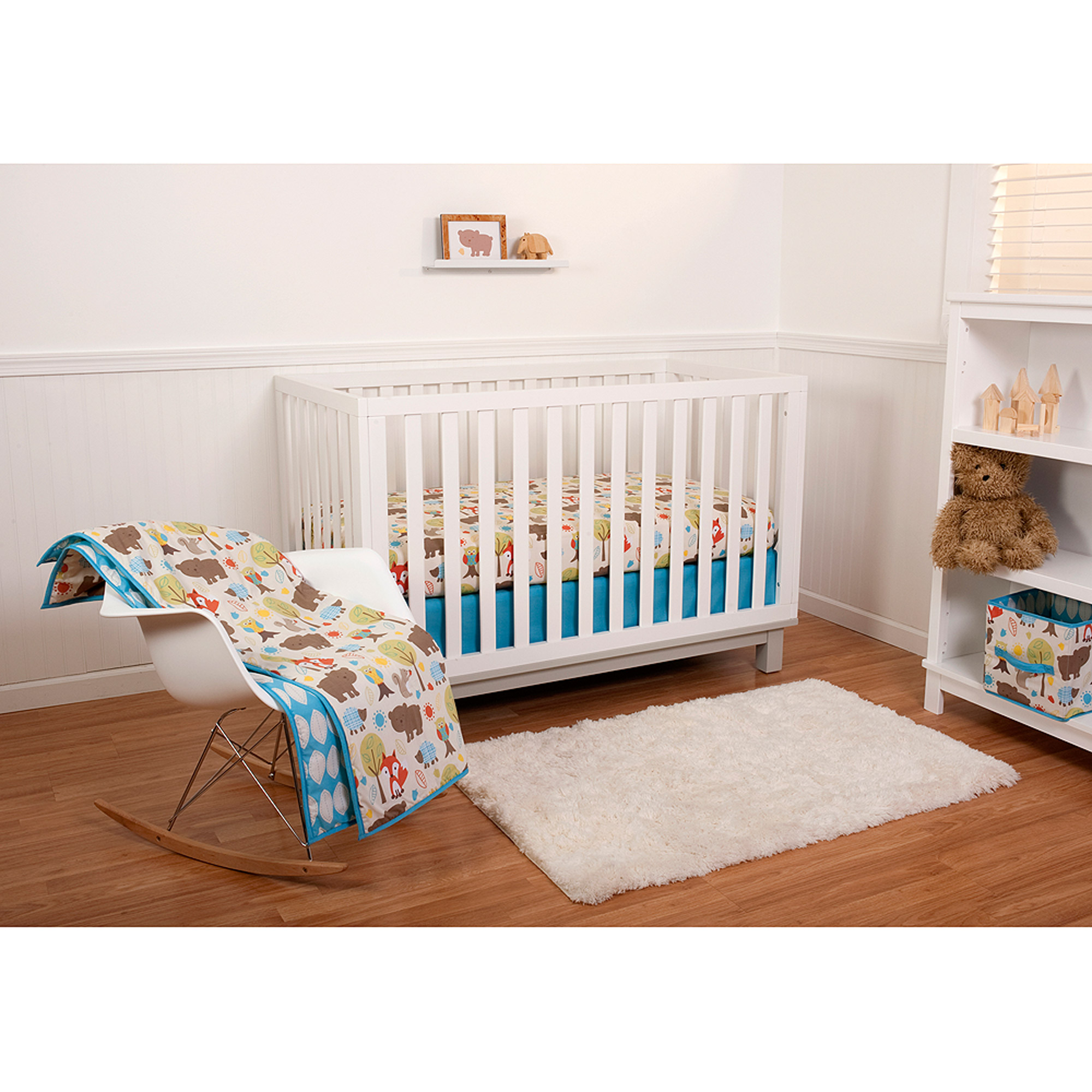 Little Bedding by Nojo Reversible Woodlands/Blue Leaf Print 6-Piece Crib Bedding Set