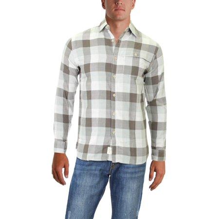 Woolrich Mens First Fork (Woolrich Mens EcoRich Weekend Check Print Long Sleeves Button-Down Shirt Gray S )