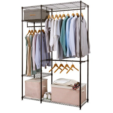 Lifewit Free Standing Closet Garment Rack Heavy Duty Clothes Wardrobe Rolling Storage Organizer With Hanger Bar Black