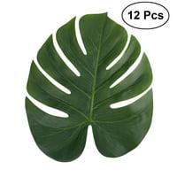 12pcs 35x29cm Artificial Tropical Palm Leaves Simulation Leaf for Hawaiian Luau Party Jungle Beach Theme Party Decorations