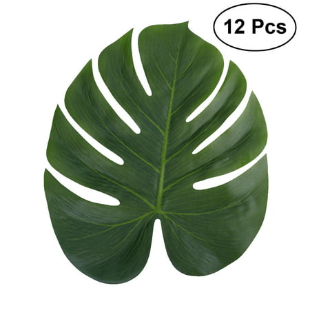 12pcs 35x29cm Artificial Tropical Palm Leaves Simulation Leaf for Hawaiian Luau Party Jungle Beach Theme Party - Beach Theme Decorations For Home
