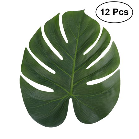 12pcs 35x29cm Artificial Tropical Palm Leaves Simulation Leaf for Hawaiian Luau Party Jungle Beach Theme Party Decorations - 20s Themed Party