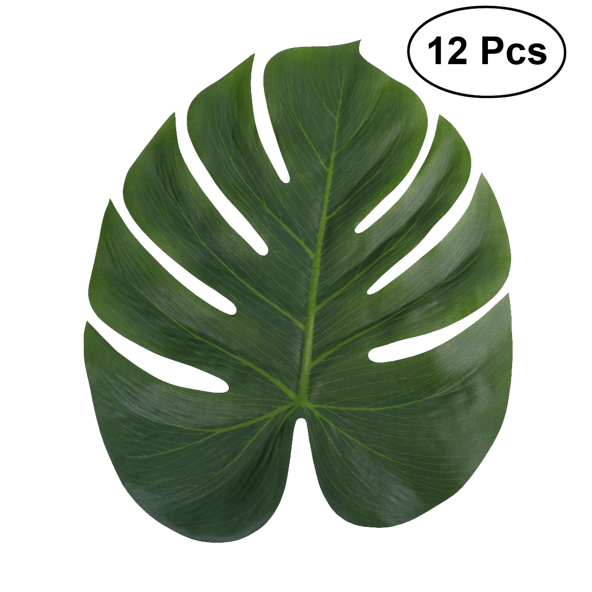 12pcs 35x29cm Artificial Tropical Palm Leaves Simulation Leaf for Hawaiian Luau Party Jungle Beach Theme Party Decorations