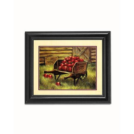 Mountain Farm Apples Wheel Barrow at Harvest Black Framed 8x10 Art - Black Apples