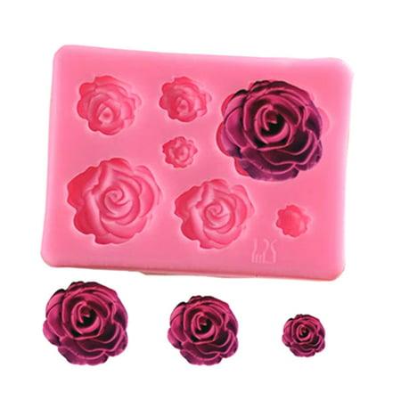 KABOER 2 PCS 3D Rose Flower Cake Decoration Silicone Molds DIY Handmade Soap Chocolate Fondant Baking Tools (2 Oz Soap Mold)