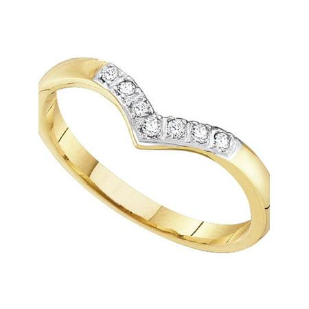 Round Diamond 14kt Ring (14kt Yellow Gold Womens Round Diamond Chevron Band Ring 1/12 Cttw)