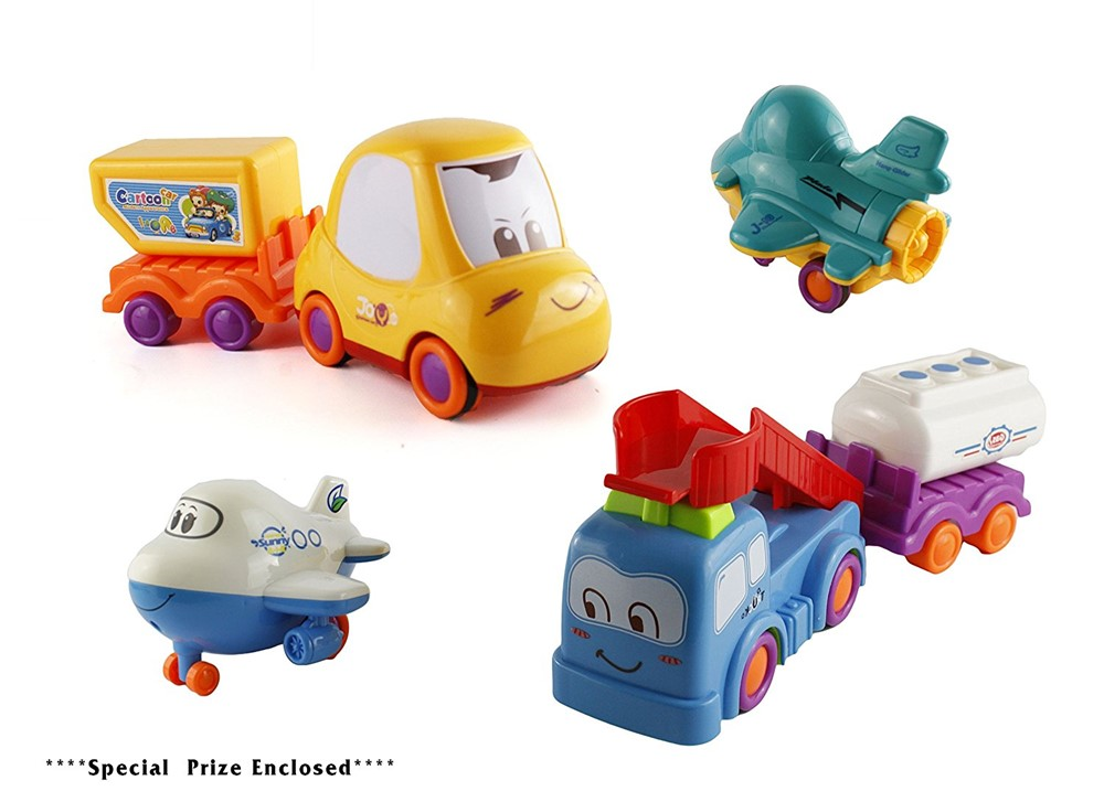 Bezrat Push and Go Friction Powered Construction Truck Toy Cars Set of 6 Pull Back Racer... by