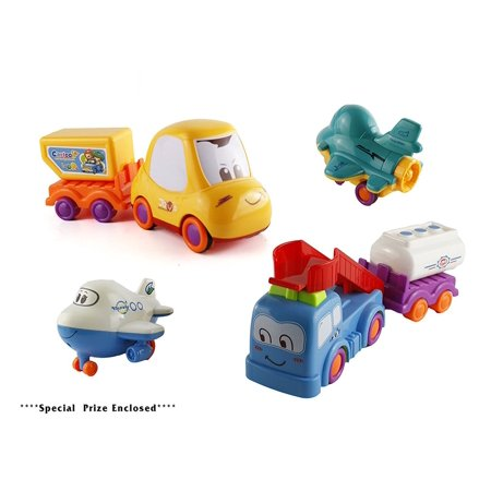 Pull Back Toy Truck (Bezrat Push and Go Friction Powered Construction Truck Toy Cars Set of 6 Pull Back Racer Cars-Mix Moving Parts Imagination Play Time For Toddlers, Boys & Girls (colors may vary) FREE GIFT INCLUDED)
