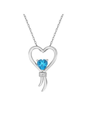 Knots of Love Sterling Silver Blue Topaz Heart Pendant, 18""