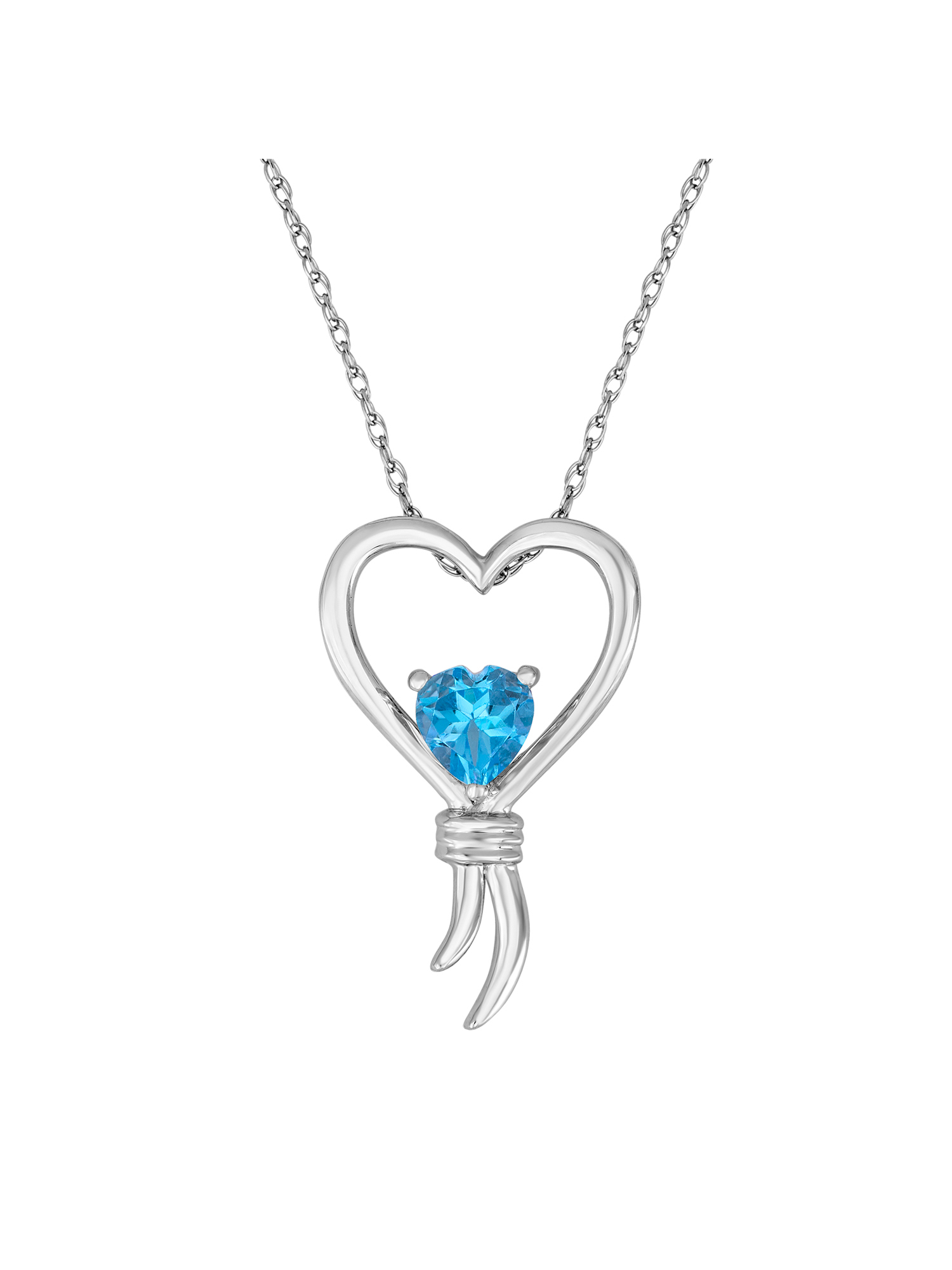 "Knots of Love Sterling Silver Blue Topaz Heart Pendant, 18"""