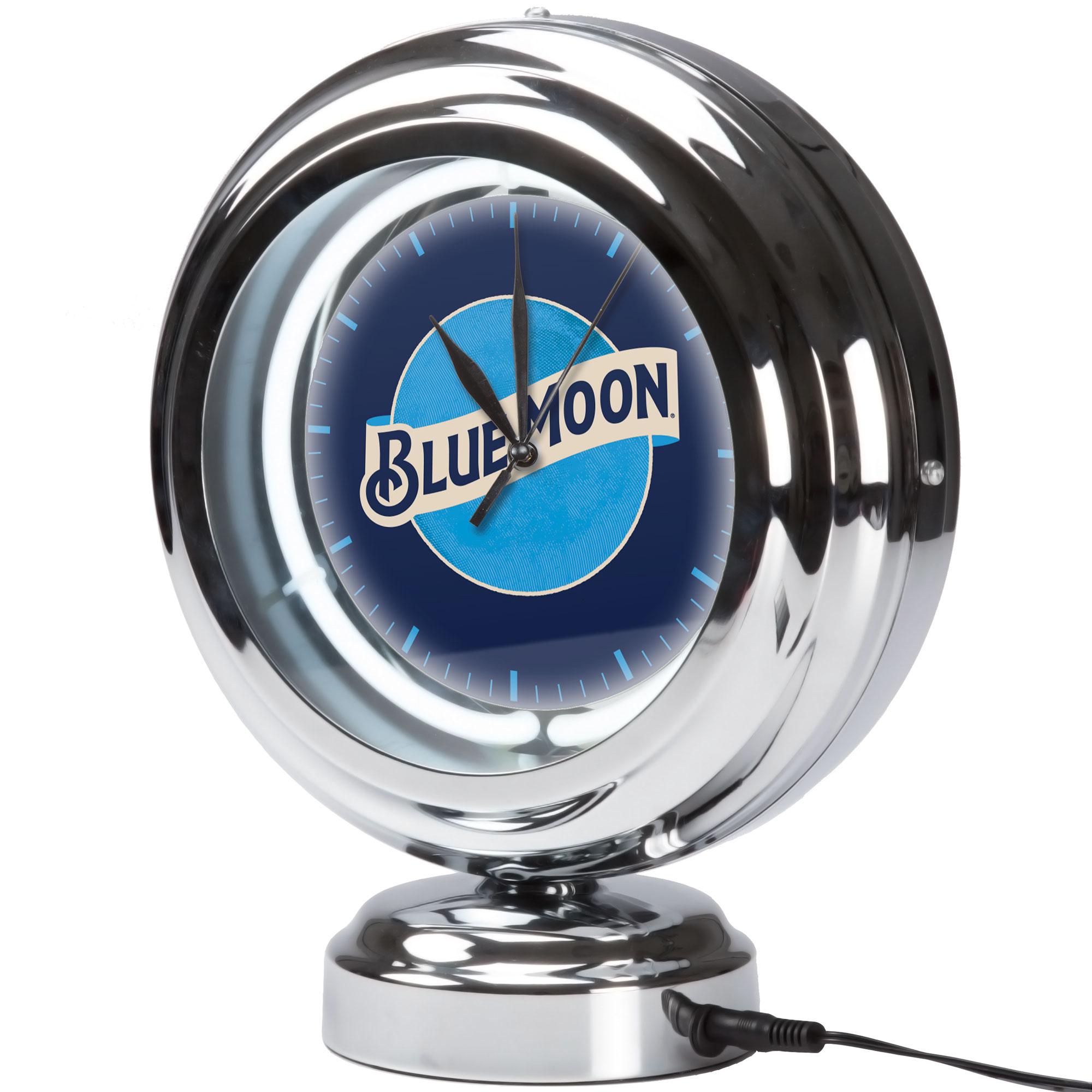 Image of Blue Moon Chrome Retro Style Tabletop Neon Clock