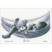 """Baby In Hammock Birth Record On Aida Counted Cross Stitch Kit, 10.5"""" x 7.5"""", 14 Count"""