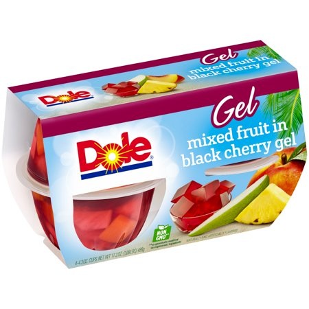 Dole Fruit Bowls, Mixed Fruit in Black Cherry Gel, 4.3 Ounce (4 Cups) - Fruit Of The Sea