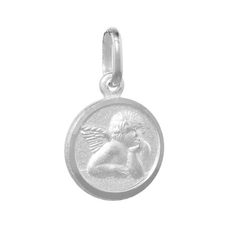Dainty Sterling Silver Guardian Angel Medal Necklace 1/2 inch Round Italy - Guardian Angel Necklace