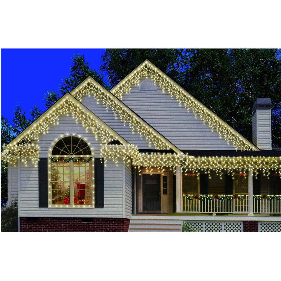 Holiday Time 300-Count Heavy-Duty Icicle Christmas Lights, Clear