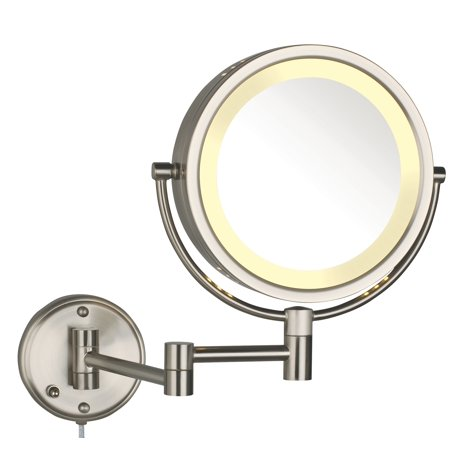 Modern Nickel Wall Mounted Lighted Make Up Mirror
