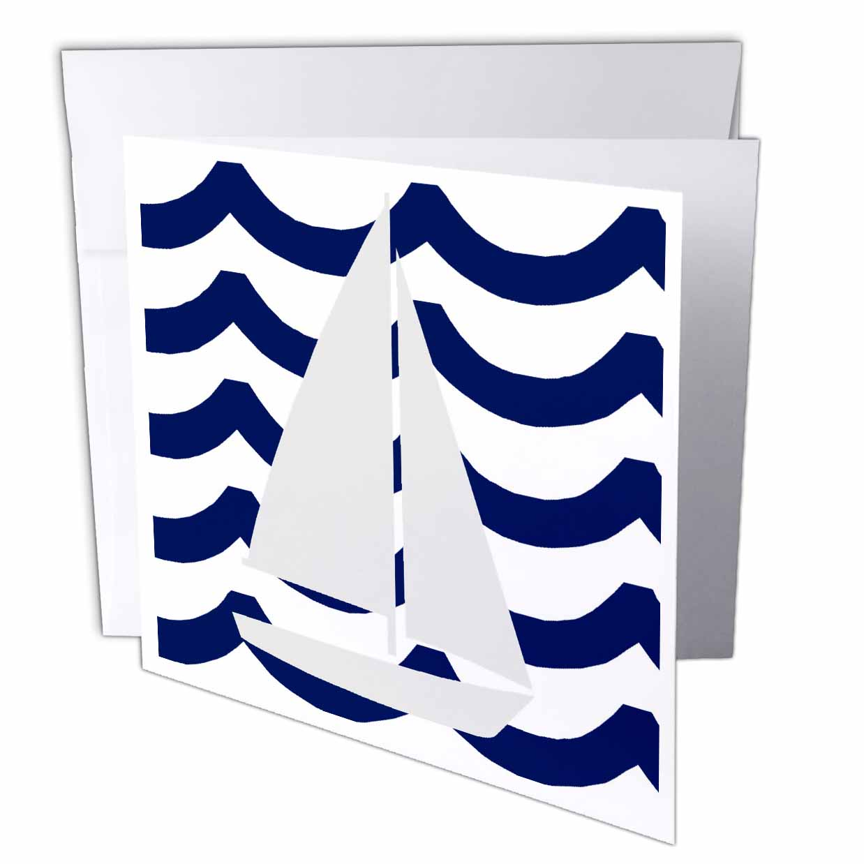 3dRose White Toy Sailboat On Blue Waves, Greeting Cards, 6 x 6 inches, set of 6 by 3dRose