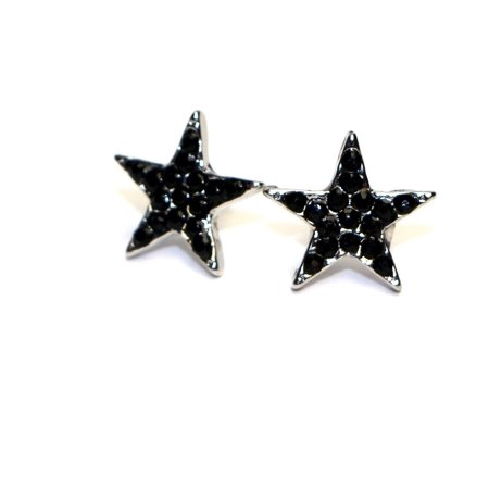 Less Fashion Surgical Stainless Steel S Mini Star Stud Earrings Black