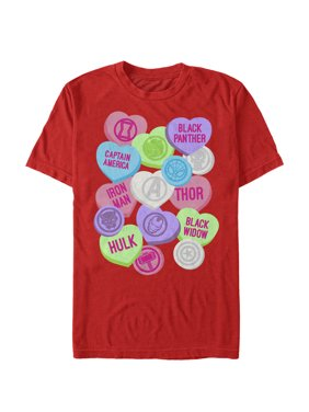 Marvel Men's Valentine's Day Candy Heart Heroes T-Shirt