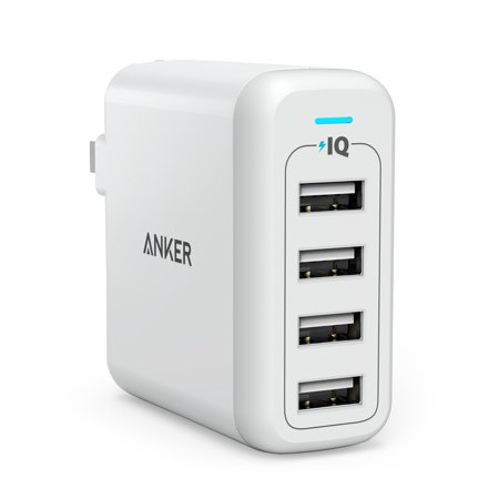 Anker 40W 4 Port Usb Wall Charger Powerport 4  Multi Port Usb Charger With Foldable Plug For Iphone Se   6S   6   6 Plus  Ipad Air 2   Pro  Samsung Galaxy S7   S6  Note 5  Lg G5 And More
