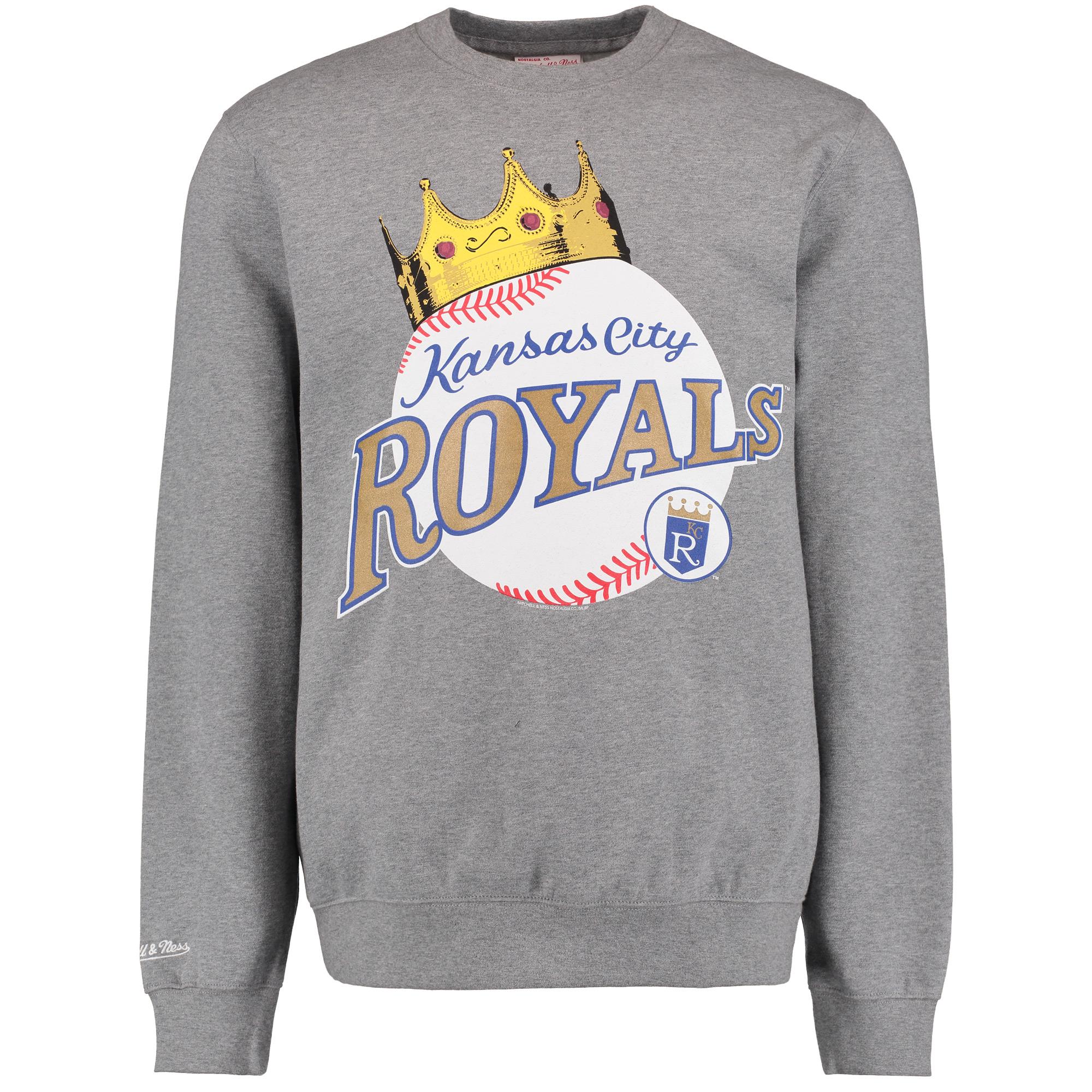 Kansas City Royals Mitchell & Ness Crewneck Fleece Pullover Sweatshirt - Gray