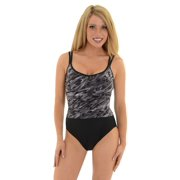 Womens Miraclesuit Swimwear One Piece Swim Suit Slimming Black Grey Print Vneck Sizes: 10