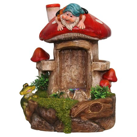 - SINTECHNO Cute Gnome and Frog Tabletop Water Fountain