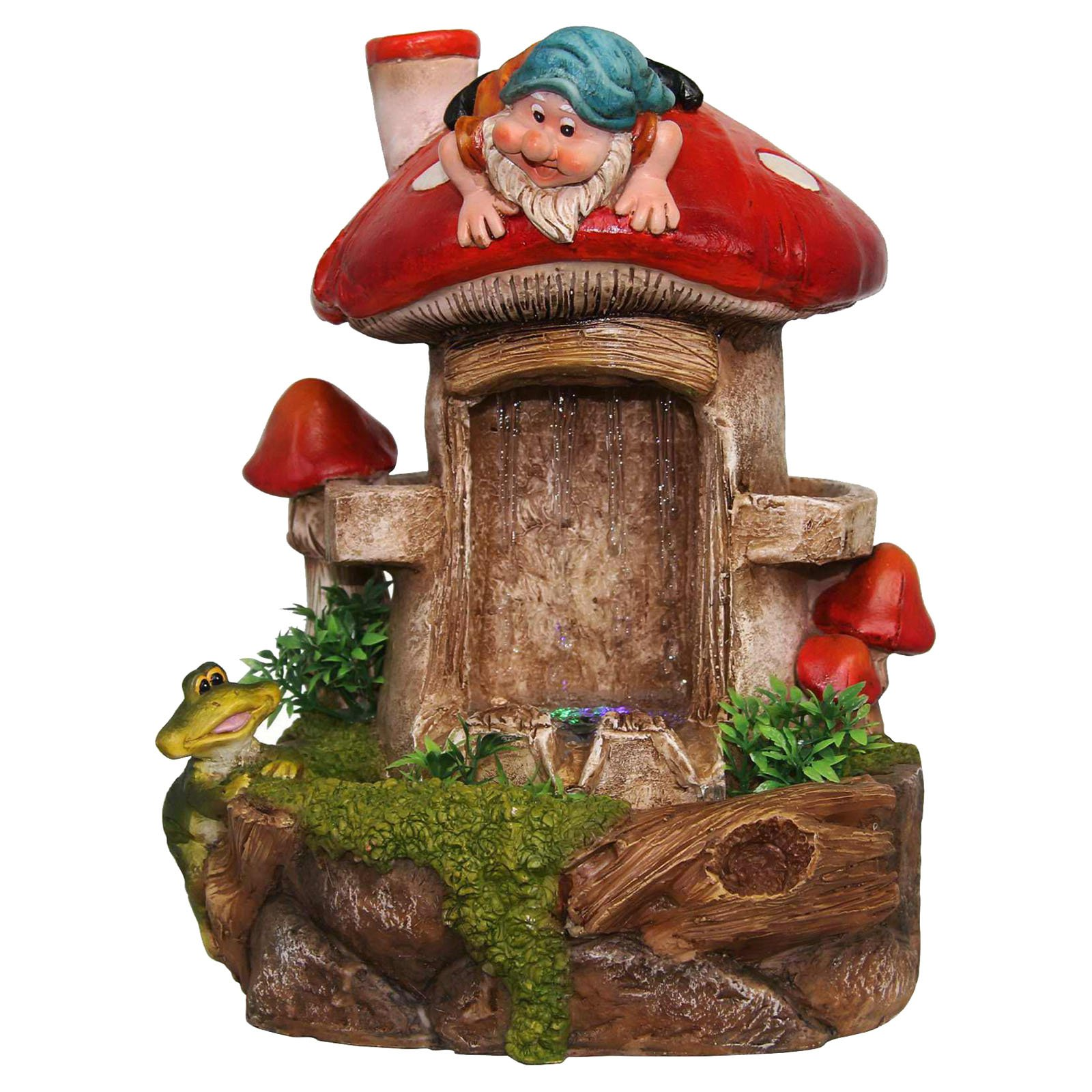 SINTECHNO Cute Gnome and Frog Tabletop Water Fountain