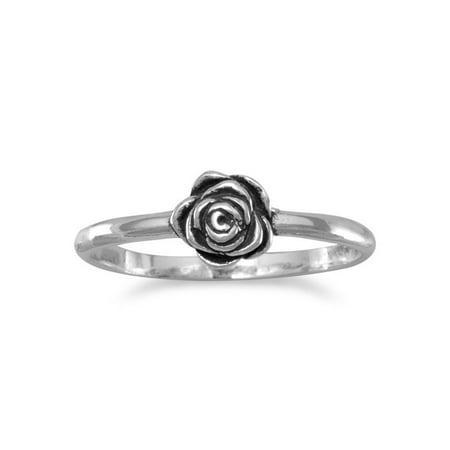 Flower Rose Ring Pinkie Ring Small Antiqued Sterling Silver