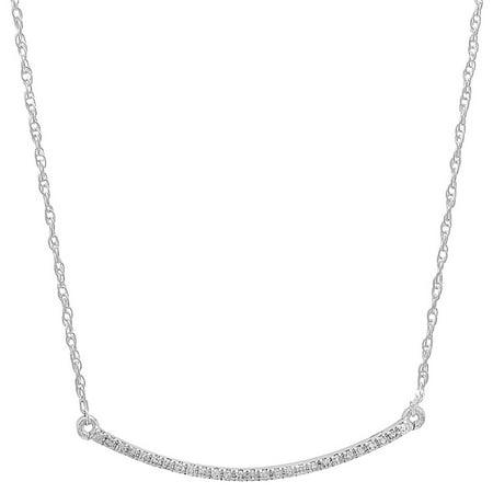 0.10 Carat (ctw) 14K White Gold Round Cut White Diamond Ladies Bar Shape Fashion Pendant 1/10 CT (Silver Chain Included)