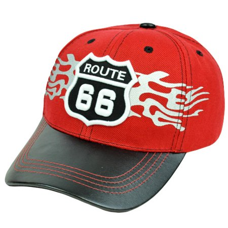 Historic Route 66 First Highway Road America Faux Leather Bill Red Black Hat Cap