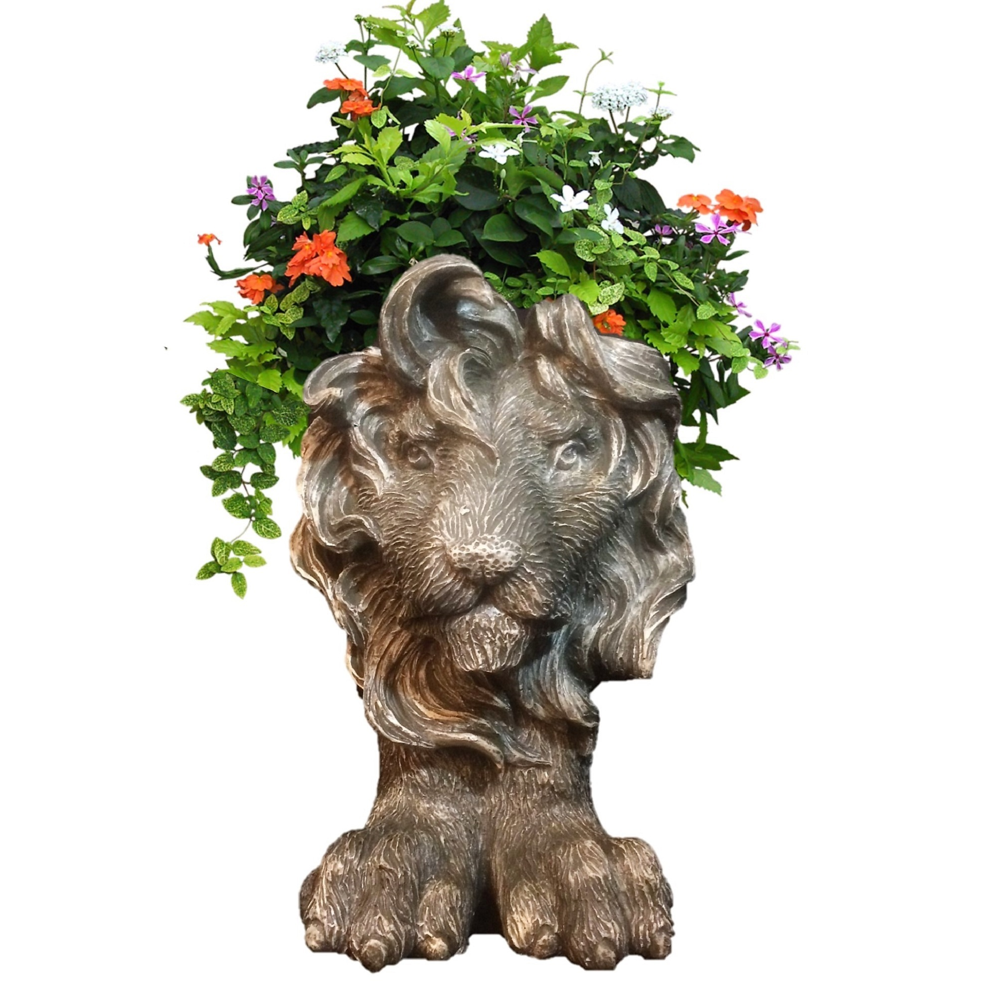 Homestyles Graystone Lion Muggly Mascot Animal Statue Planter Pot