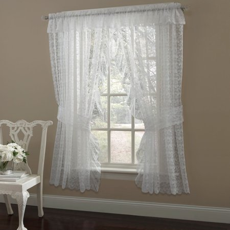 Walmart Credit Card Review >> Priscilla Ruffled Bridal Lace Curtain Panel Pair With ...