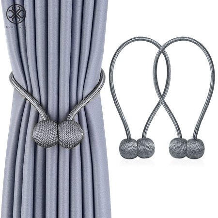 Luxtrada 2Pack Magnetic Curtain Hooks Rope Buckle Tie Backs Holdbacks Drape for Window Sheer and Blackout Drapries Gray