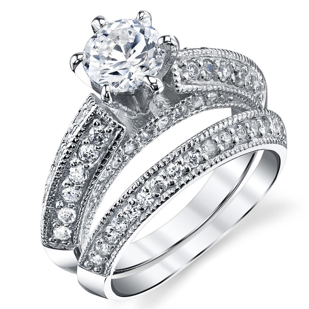 Ringwright Co Sterling Silver Milgrain 2 Pc Bridal Promise