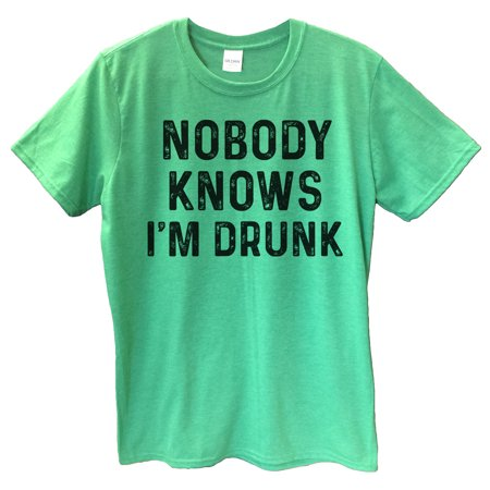 "Funny Drinking Mens T-shirt ""Nobody Knows I'm Drunk"" Great Funny Party T Shirt Medium, Heather (Drunk Drinking T-shirt)"