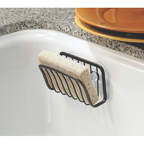 InterDesign Axis Kitchen Sink Suction Holder For Sponges, Scrubbers, Soap,  Bronze