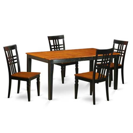 Kitchen Table Set with One Nicoli Table & Four Chairs, Black & Cherry - 5  Piece