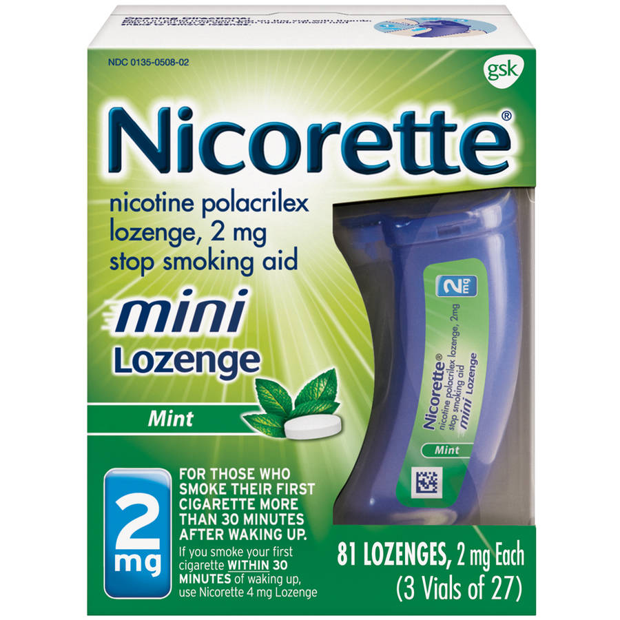 Nicorette Mint Mini Lozenges Stop Smoking Aid, 2mg, 27 count, (Pack of 3)