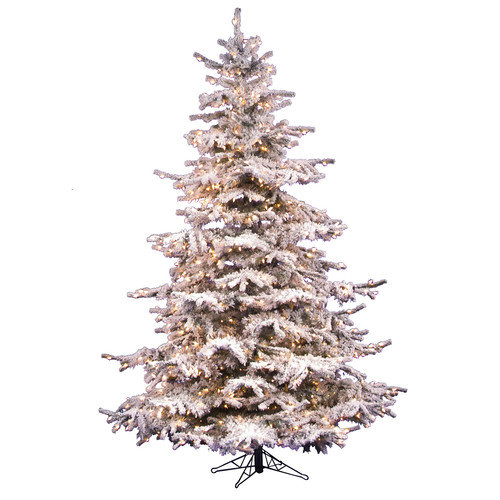 Vickerman Flocked Sierra Fir 8.5' White Artificial Christmas Tree with 850 Clear Lights with Stand