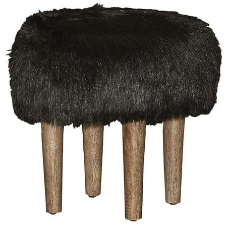 Linon Samarina Faux Flokati Stool, Black, 15 inch Seat Height ()