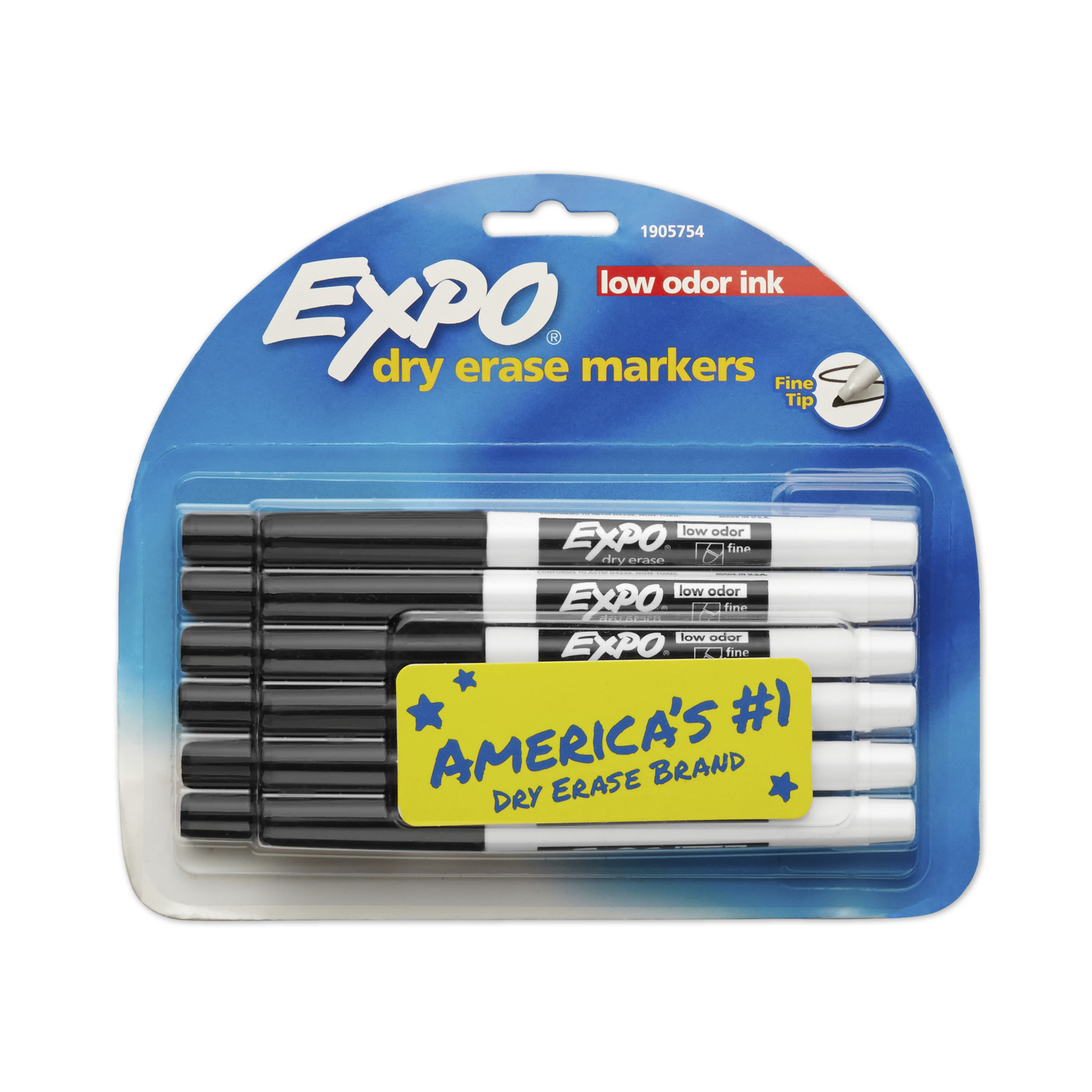 EXPO Low Odor Dry Erase Markers, Fine Tip, Black, 12 Count