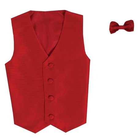 (Boys Red Poly Silk Vest Bowtie Special Occasion Set 12/14)