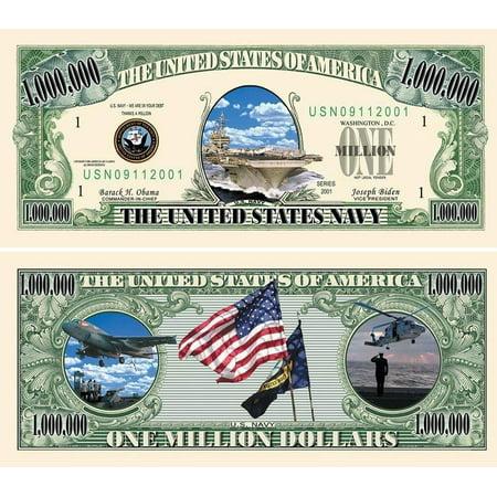 "Five Dollar Gift Card - 5 US Navy Million Dollar Bills with Bonus ""Thanks a Million"" Gift Card Set"