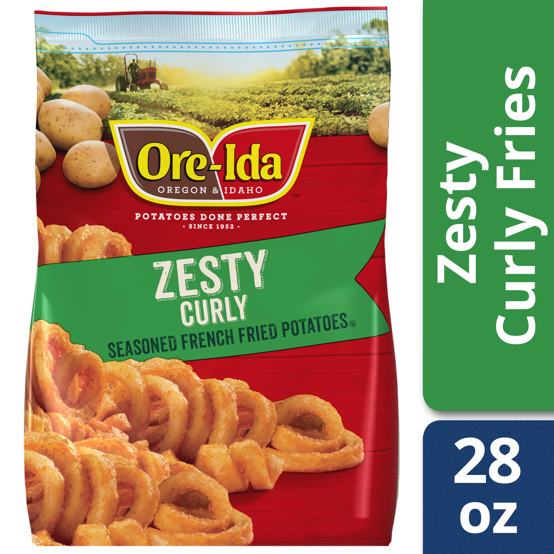 Ore-Ida Bold & Crispy Zesty Seasoned Curly Fries French Fried Potatoes, 28 oz Bag